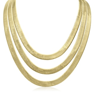 Adoriana 18k Yellow Gold Overlay Herringbone 3-strand Necklace