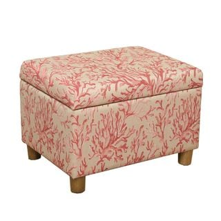 HomePop Medium Storage Ottoman in Pink Coral