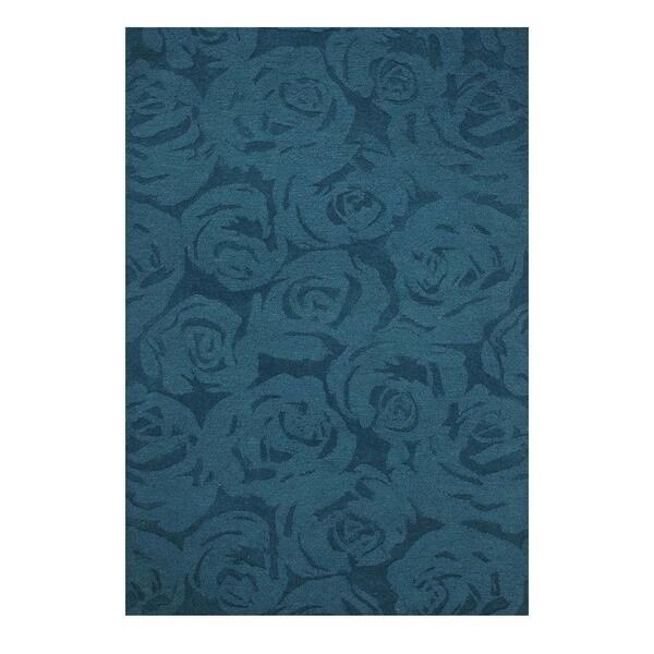 Shop Hand-Tufted Contemporary Deep Teal/Deep Teal Wool