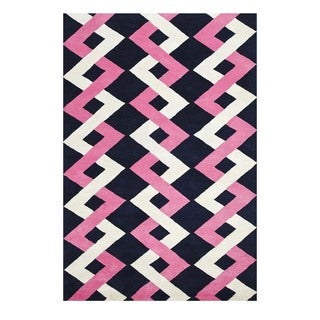Handmade Geometric Pink Area Rug (5' X 8')