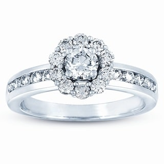 Eloquence 14k White Gold 1ct TDW Diamond Halo Engagement Ring (J-K, VS1-VS2)