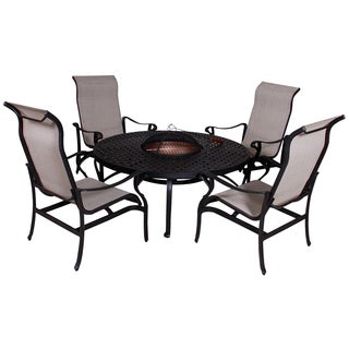 Lorraine dining height fire pit table and chairs 5 piece set free shipping today overstock