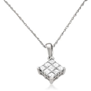 Montebello 14k White Gold 3/4ct TDW Princess-cut Diamond Solitaire Pendant