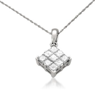 Montebello 14k White Gold 1ct TDW Princess-cut Diamond Pendant (H-I, I1)
