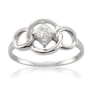 Montebello 14k White Gold 1/10ct TDW Princess-cut Diamond Ring (H-I, I1-I2)