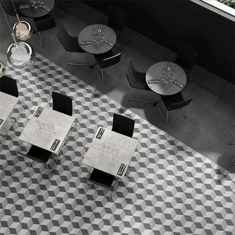 SomerTile 8.63x9.88-inch Trafico 3D Grey Hex Porcelain Floor and Wall Tile (25 tiles/11.56 sqft.)