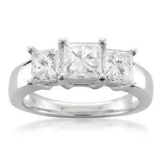 Montebello 14k White Gold 2ct TDW Princess-cut 3-Stone White Diamond Engagement Ring