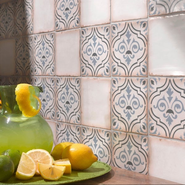 Somertile 4 875x4 875 Inch Chronicle Fleur De Lis Ceramic Floor And Wall Tile