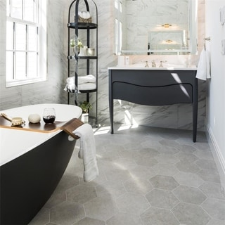 SomerTile 8.625x9.875-inch Trafico Silver Hex Porcelain Floor and Wall Tile (25 tiles/11.56 sqft.)