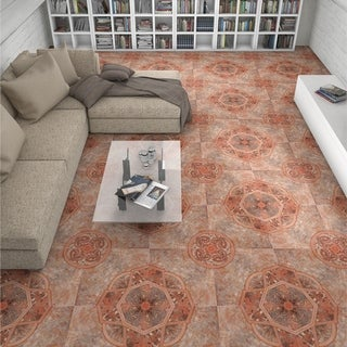 SomerTile 19.75x19.75-inch Burlington Red Ceramic Floor and Wall Tile (6 tiles/16.67 sqft.)