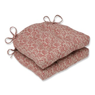 Pillow Perfect Castille Salmon Reversible Chair Pad (Set of 2)