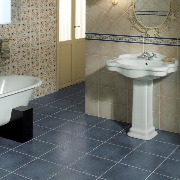 Somertile 13x13 inch quijot azul ceramic floor and wall for 13x13 floor tile
