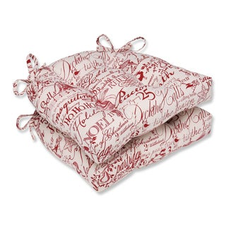 Pillow Perfect Holiday Poinsettia Reversible Chair Pad (Set of 2)