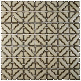 SomerTile 12.5x12.5-inch Obelisk Beige Porcelain Mosaic Floor and Wall Tile (Case of 10)