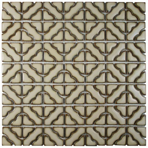 SomerTile 12.5x12.5-inch Obelisk Beige Porcelain Mosaic Floor and Wall Tile (10 tiles/11.07 sqft.)