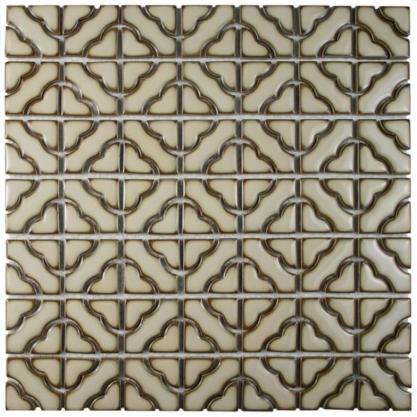 SomerTile 12.5x12.5-inch Obelisk Beige Porcelain Mosaic Floor and Wall Tile (10 tiles/11.07 sqft.)