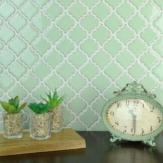 SomerTile 12.375x12.5-inch Antaeus Light Green Porcelain Mosaic Floor and Wall Tile (Case of 10)