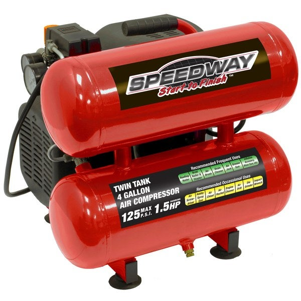 Speedway 4-gallon Twin Stack Oil Lube Air Compressor - Red 16176608