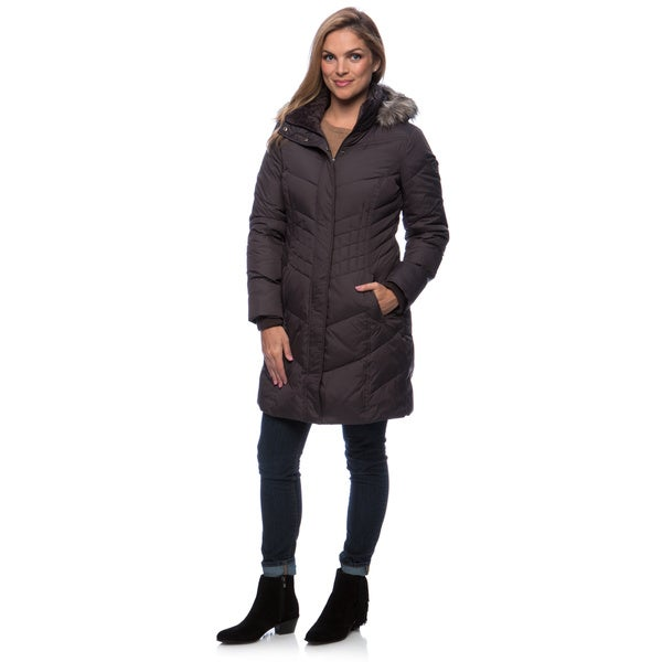 Larry Levine Women's Long Down-Filled Coat With Removable Hood ...