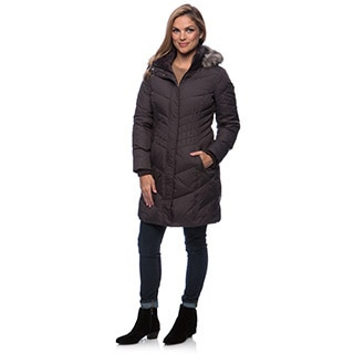 Larry Levine Women's Long Down-Filled Coat With Removable Hood