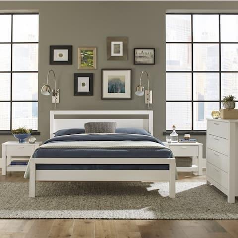 Grain Wood Furniture Loft Solid Wood Queen-size Panel Platform Bed