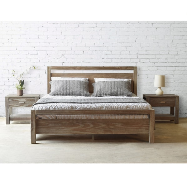 grain wood furniture loft solid wood queen size panel platform bed