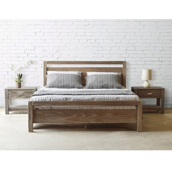 Attirant Grain Wood Furniture Loft Solid Wood Queen Size Panel Platform Bed