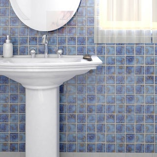 SomerTile 12.5x12.5-inch Avenue Square Azure Porcelain Mosaic Floor and Wall Tile (Case of 10)