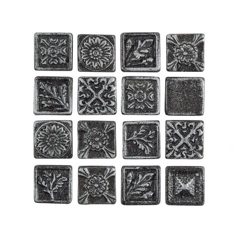SomerTile 1x1-inch Rococo Square Pewter Metallic Resin Wall Medallion Tile (16 tiles)