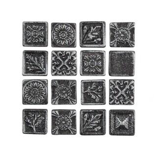 SomerTile 1x1-inch Rococo Square Pewter Metallic Resin Wall Medallion Tile (16 tiles)