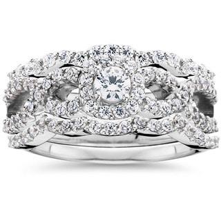 Link to Pompeii3 10K White Gold 1 1/0ct TDW Diamond Bridal Engagement Ring Set Similar Items in Wedding Rings