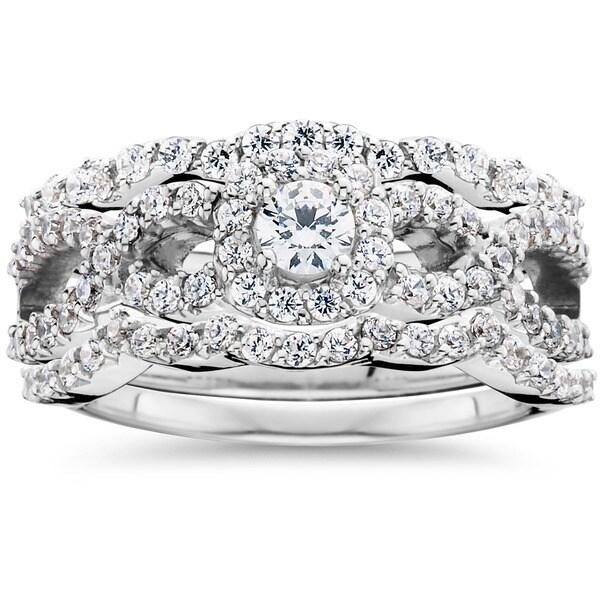 Bliss 10K White Gold 1 1/0ct TDW Diamond Bridal Engagement Ring Set