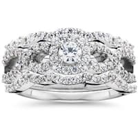 Bliss 10K White Gold 1 1/0ct TDW Diamond Bridal Engagement Ring Set