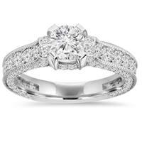 14k White Gold 1 5/ 8 ct. TDW Vintage Diamond Engagement Ring