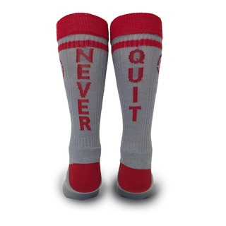 Inspyr Socks, Never Quit Athetic Lifestyle Crew Sock Large