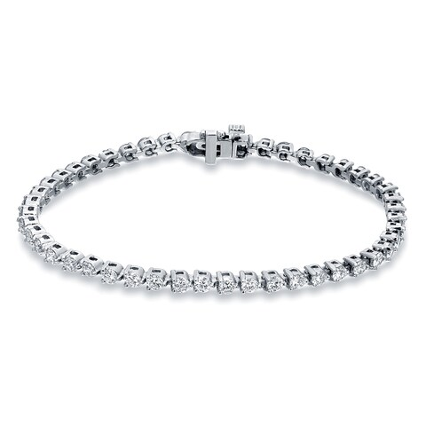 Auriya 14k Gold 3 3/4ct TDW Round Diamond Tennis Bracelet