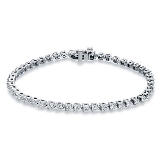 Auriya 14k Gold 3 3/4ct TDW Round Cut Diamond Tennis Bracelet