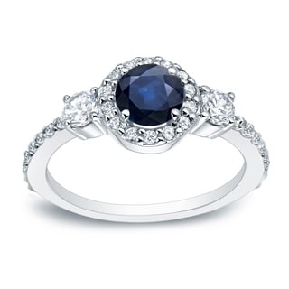 Auriya 14k Gold 1/4ct Blue Sapphire and 1/2ct TDW Round Diamond Engagement Ring (H-I, SI1-SI2)
