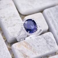 Auriya 18k White Gold 3ct Cushion-Cut Blue Sapphire and 1/3ct TDW Diamond Halo Engagement Ring