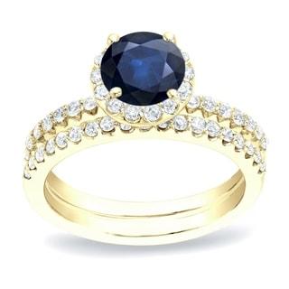 Auriya 1 2ct Blue Sapphire And 3 4ctw Halo Diamond Engagement Ring Set 14K Gold