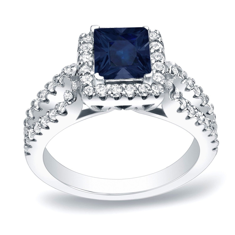 Auriya 14k Gold 1ct Blue Sapphire and 3/4ct TDW Diamond E...
