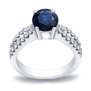 Auriya 14k Gold 3/5ct Blue Sapphire and 2/5ct TDW Round Diamond Engagement Ring (H-I, SI1-SI2)