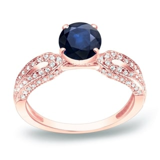 Auriya 14k Gold 1ct Blue Sapphire and 1/5ct TDW Round Diamond Engagement Ring (H-I, SI1-SI2)