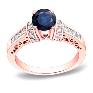 Auriya 14k Gold 1/2ct Blue Sapphire and 3/4ct TDW Diamond Engagement Ring