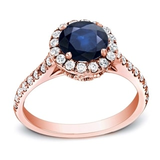 Auriya 14k Gold 1 1/4ct Blue Sapphire and 1/2ct TDW Round Diamond Engagement Ring (H-I, SI1-SI2)