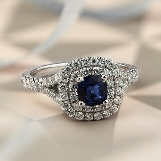 Auriya 14k Gold 1/2ct Cushion-Cut Blue Sapphire and 3/4ct Halo Diamond Engagement Ring