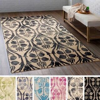 Hand-Hooked Rutland Floral Wool Rug (5' x 7'6)