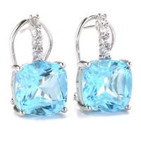 Sterling Silver Sky Blue Topaz and White Zircon Drop Earrings