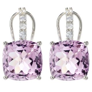 Sterling Silver Cushion Pink Amethyst and White zircon Earrings