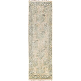 Hand-Knotted Padiham Border Indoor Wool Rug (2'6 x 8')